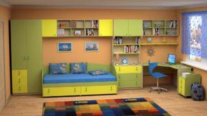 Желто - зеленая детская комната