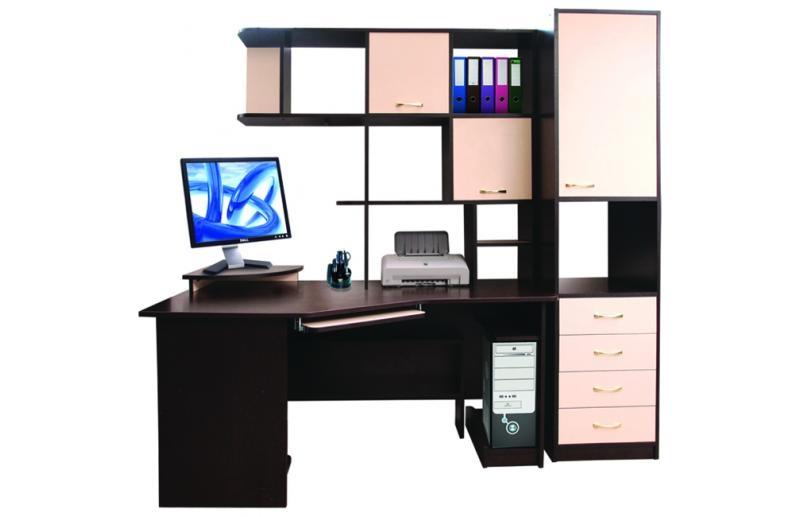 компьютерные столы с полками и ящиками фото цены
