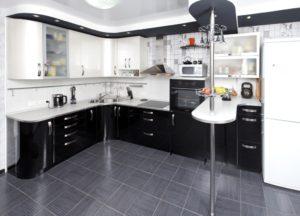 Черно белый уголок для кухни