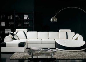 Белый диван - черные обои