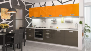 Оранжевая кухня из МДФ