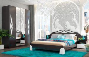 Мебель для спальни темная с вставками