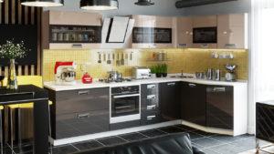Темная кухня с вытяжкой