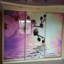 Шкаф купе с цветами на фасаде