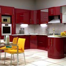 Красная кухня с подсветкой